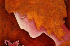 Kvinna og blomsten Oljemaleri (40x30 cm)
